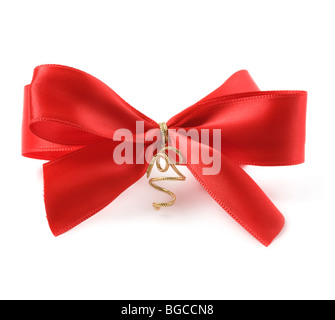 Red bow against white background - Stock Photo