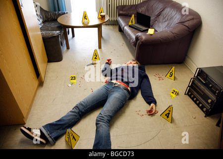 Crime scene investigation, forensic people at a murder scene. Police work, preservation of evidences. - Stock Photo