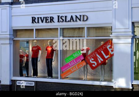 River Island store during Christmas sales, Leamington Spa,  UK - Stock Photo
