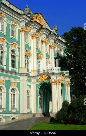 Side entrance of the 18th century Winter Palace (State Hermitage Museum) in Saint Petersburg, Russia - Stock Photo