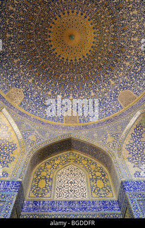 Colorful faience tiles in the central prayer hall of Shah or Imam, Emam Mosque at Meidan-e Emam, Naqsh-e Jahan, - Stock Photo