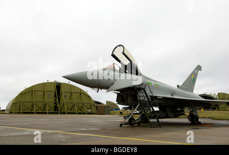 Typhoon F2 - Eurofighter Fast Jet - 3 Squadron Royal Air Force outside a hangar in the United Kingdom. Photo by - Stock Photo