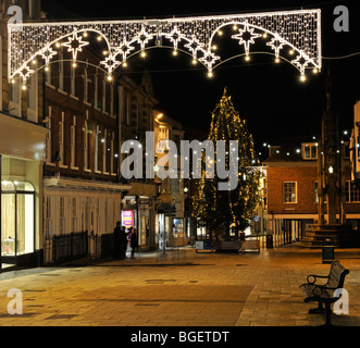 Christmas lights in High Street, Winchester, Hampshire, UK. - Stock Photo