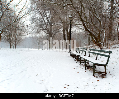 A morning snow fall covers the trails in the park and fills the benches with fluffy powder snow - Stock Photo