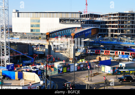 Construction of Westfield, Stratford City (next to the 2012 Olympic Park), Stratford, London, UK - Stock Photo
