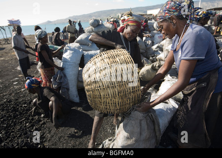 Charcoal market at the port in Gonaives, Artibonite Department, Haiti - Stock Photo