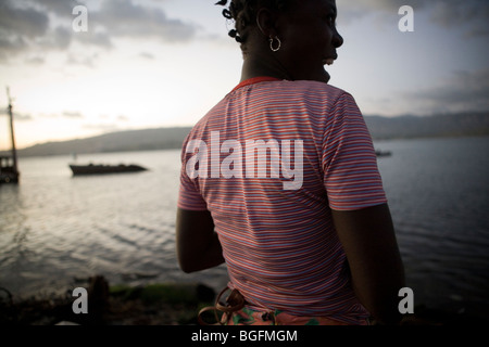 Woman at the port in Gonaives, Artibonite Department, Haiti - Stock Photo