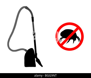 Prohibition sign for house dust mites and vacuum cleaner - Stock Photo