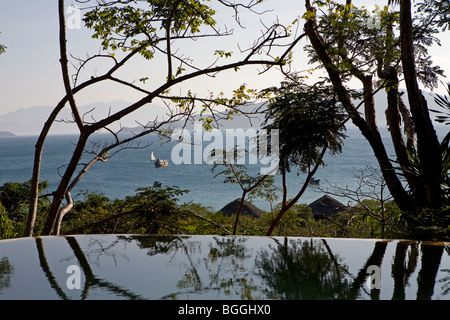View from the Evason Hideaway Hotel to the sea, Nha Trang, Vietnam, high angle view - Stock Photo