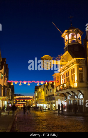 Guildford High Street illuminations at Christmas, Surrey England UK - Stock Photo