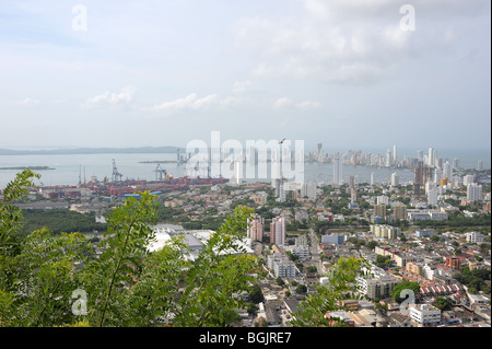 Views from Convento De La Popa,  the highest point in Cartagena, stretching all over the city. Colombia, South America - Stock Photo
