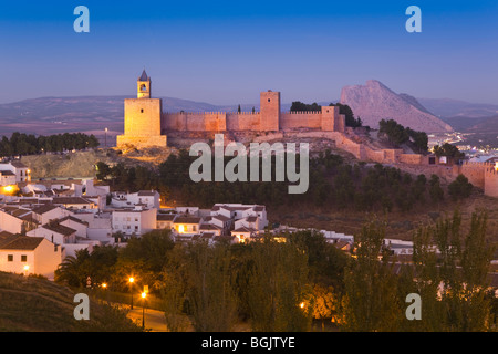 Antequera, Malaga Province, Spain. View to the castle at night. - Stock Photo