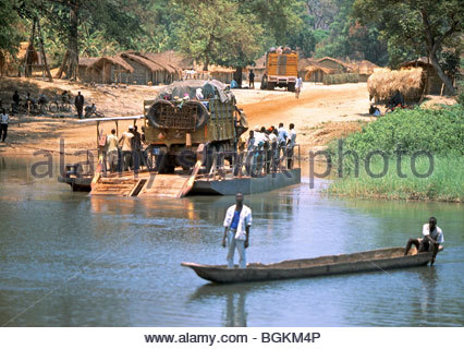 African jungle river boat landscape Central African Republic Africa - Stock Photo
