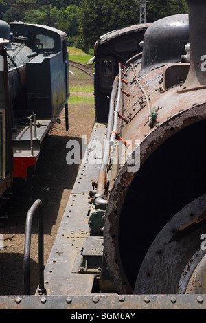 Two old and derelict steam locomotives side by side. Foreground focus. Pietermaritzburg, Kwazulu Natal, South Africa. - Stock Photo