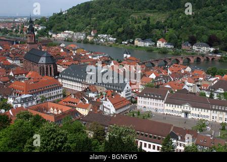 View over the historic centre of Heidelberg along the river Neckar, Germany - Stock Photo