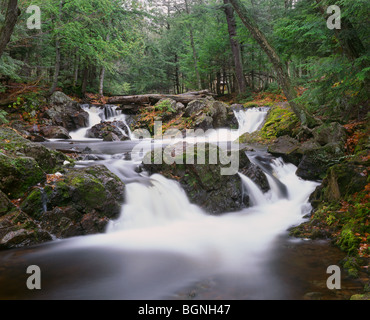 MICHIGAN - Greenstone Falls on the Little Carp River in Porcupine Mountains Wilderness State Park. - Stock Photo
