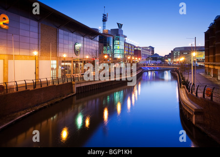 Riverside on the Oracle shopping centre in Reading at Dusk, Berkshire, Uk - Stock Photo