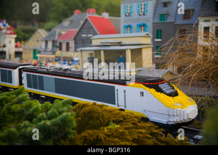 Lego Eurostar train at Legoland Windsor - Stock Photo