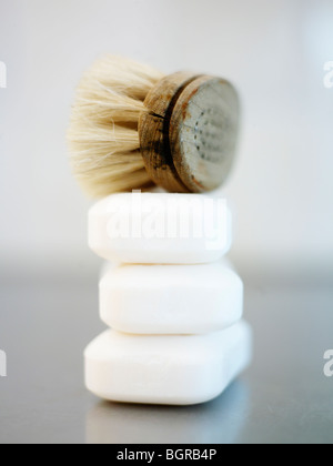 Soaps and a brush - Stock Photo