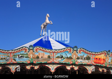 Traditional Carousel in Les Saintes Maries de La Mer, Camargue, Provence France - Stock Photo