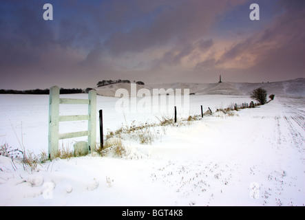 Snow on the ground at the Cherhill White Horse - Stock Photo
