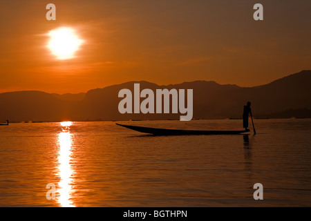 Fisherman. Inle Lake. Myanmar - Stock Photo