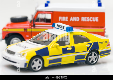 Childrens Toy Police Car and Fire and Rescue Vehicle - Stock Photo