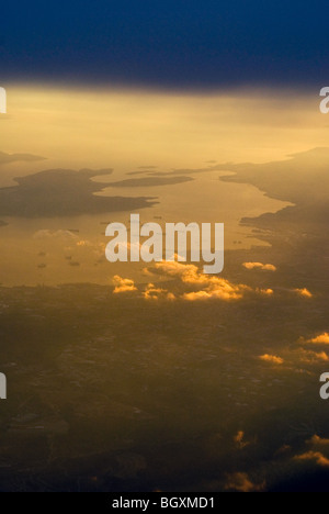 View from aeroplane/airplane window flying over the approach to Athens, Greece - Stock Photo