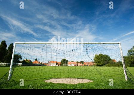 Soccer goal on soccer field - Stock Photo