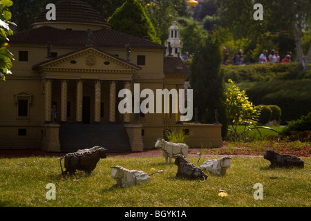 Lego scene with cows, Legoland Windsor - Stock Photo