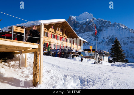 Exterior view of the mountain restaurant Bort, First, Grindelwald, Bernese Oberland, Canton of Bern, Switzerland - Stock Photo