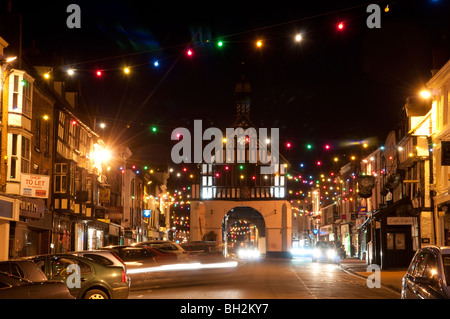 Christmas lights in High Street, Bridgnorth, Shropshire - Stock Photo