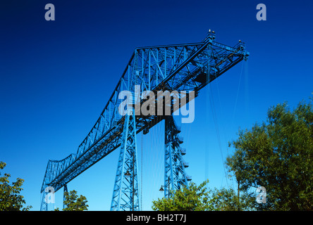 A daytime view of the Transporter Bridge over the River Wear in Middlesbrough, Tees Valley - Stock Photo