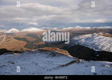 The Arrochar Alps, Beinn Donich and Bein Brack with Loch Goil in the distance from Beinn Bhula - Stock Photo