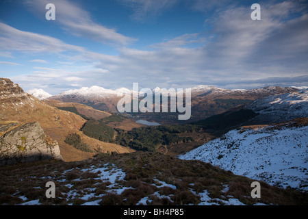 The Arrochar Alps with Loch Goil in the distance from Beinn Bhula - Stock Photo