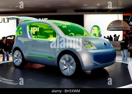 Paris, France, Paris Auto Show, Electric Motor Concept Car, Renault ZE, side view, Green tech - Stock Photo