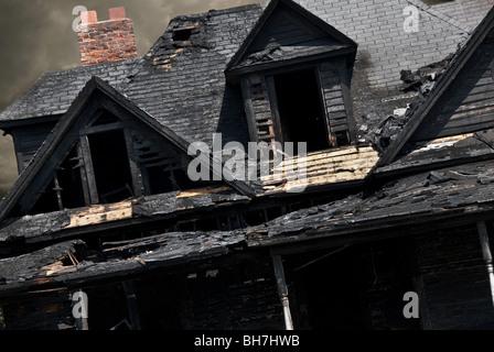 Fire damaged house in North Carolina - Stock Photo