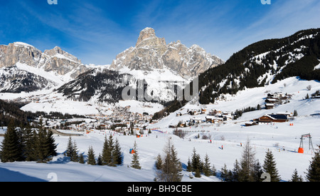 Panoramic view over the resort of Corvara with Colfosco in the distance, Sella Ronda Ski Area, Alta Badia, Dolomites, - Stock Photo