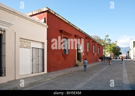 view north along pedestrian zone of Macedonio Alcala with Institute & Museum of Graphic Arts on left & distant view - Stock Photo