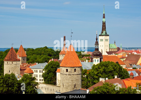 The 124m tall spire of Oleviste kirik (St Olav's church) dominates the rooftops of Tallinn's Old Town, view from - Stock Photo