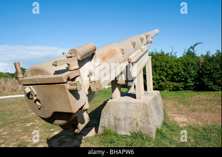 The remains of a German Howitzer at Pointe Du Hoc, Normandy, France - Stock Photo