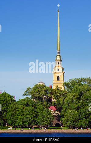 The spire of SS Peter & Paul Cathedral, part of the Peter and Paul Fortress, St Petersburg, Russia - Stock Photo