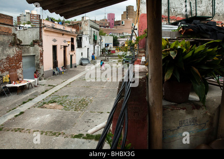 View of Calle Curuguaty in a traditional black neighborhood (Barrio Sur) of Montevideo, Uruguay - Stock Photo