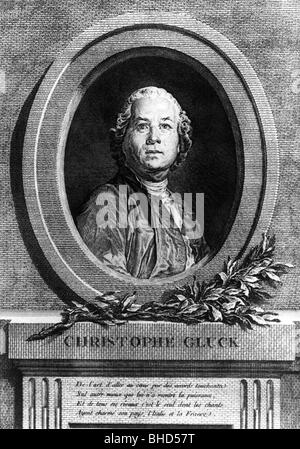 Gluck, Christoph Willibald, 2.7.1714 - 15.11.1787, German musician (composer), portrait, copper engraving by S.C. - Stock Photo