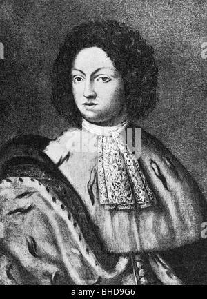 Charles XI, 24.11.1655 - 15.4.1697, King of Sweden 23.2.1660 - 15.4.1697, half length, mezzotint, 19th century, - Stock Photo