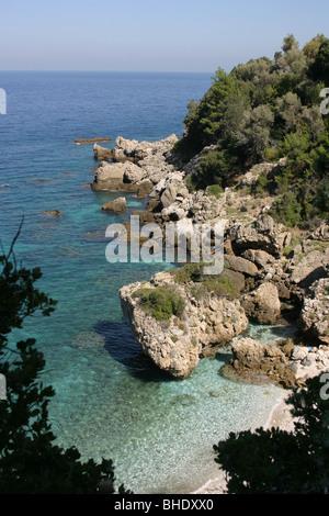 Rocky coast on Greek Island Samos - Stock Photo