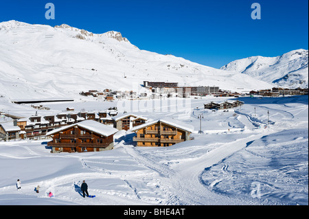View from Val Claret over Tignes Le Lac, Tignes, Espace Killy, Tarentaise, Savoie, France - Stock Photo
