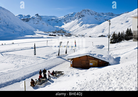 View from the ice skating rink in Tignes Le Lac towards Val Claret, Tignes, Espace Killy, Tarentaise, Savoie, France - Stock Photo
