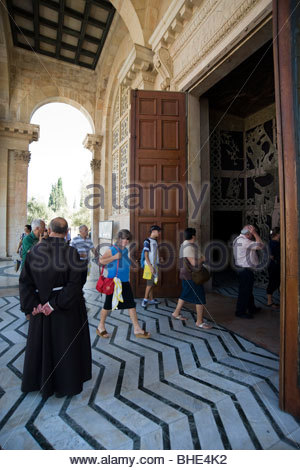 Basilica of nations or of the agony, the garden of Gethsemane, Jerusalem, Israel - Stock Photo