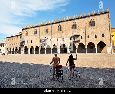 The mediaeval Palazzo Ducale, the Ducal Palace, across the Piazza Sordello in mediaeval city of Mantua, Lombardy, - Stock Photo